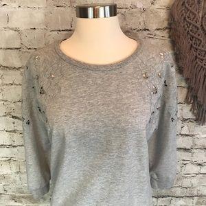 LOFT Tops - Loft Embroidered Cut Out 3/4 Sleeve Sweatshirt M